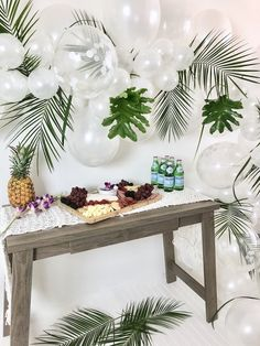Searching for a simple, yet gorgeous party idea? Kara's Party Ideas has a Tropical Chic Charcuterie Table that will fill the bill! Tropical Party Decorations, Tropical Home Decor, Party Table Decorations, Tropical Furniture, Tropical Interior, Beach Party Decor, Party Tables, Aloha Party, Luau Party