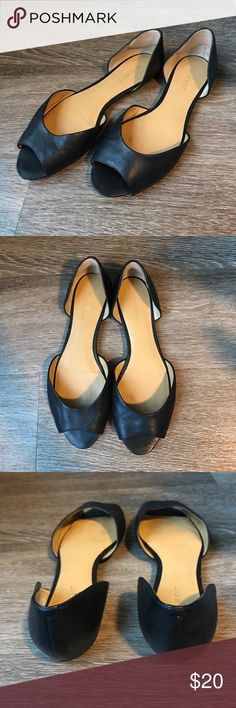 Nine West black peep toe flats Beautiful black leather peep toe flats. Size 7M. Have heel cushions in them that can be removed. Excellent condition and look great with so many things! Nine West Shoes Flats & Loafers