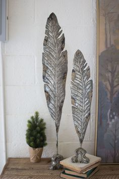 Set of Two Painted Metal Feather Sculptures from Urban Farmhouse Designs. Metal Sculpture Artists, Steel Sculpture, Metal Sculptures, Small Sculptures, Urban Farmhouse Designs, Miller Welding Helmet, Welding Art Projects, Metal Projects, Welding Crafts