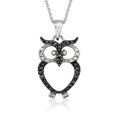 Black and White CZ Owl Pendant Necklace In Sterling Silver. For the owl-lover on your shopping list, we can't resist this adorable black and white owl pendant necklace! Tell us, whooo could ever resist his wise and knowing presence?