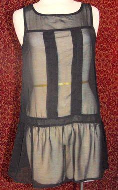 TWENTY ONE black sleeveless polyester mori girl tunic blouse Jr SP (T11-01E6G) #TwentyOne #Blouse #Casual