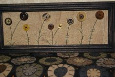 Primitive folk art fall autumn flower button wall hanging ...