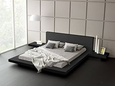 Boho platform bed diy gorgeous modern frame urban outfitters frames home improvement pretty decoration Black Platform Bed, Modern Platform Bed, Wood Platform Bed, Modern Bunk Beds, Cool Bunk Beds, Japanese Bed, Japanese Style, King Storage Bed, Bedrooms