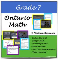 Grade 7 Ontario Math - 74 page pack; Ideas for teaching Ontario Grade 7 math; Ideas for teaching probability; Ideas for teaching percentages; Ideas for teaching equations; Ideas for teaching integers; Ideas for teaching middle school math; #ontariomath Ideas for teaching middle school Canada; #canadamath #grade7 Teaching Resources, Teaching Ideas, Ontario Curriculum, Thing 1, Canadian History, Adding And Subtracting, Integers, School Classroom, Elementary Schools