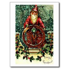 Shop Santa Claus - Nautical Christmas Wishes Holiday Card created by evolveshop. Christmas Ships, Nautical Christmas, Merry Christmas Card, Retro Christmas, Christmas Greeting Cards, Holiday Cards, Christmas Holidays, Christmas Images, Christmas Trees