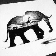 dessins-en-pointillisme-et-double-exposition-de-Thiago-Bianchini-8