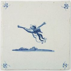 Antique Delft tile with Cupid in flight while blowing on two trumpets, 18th century