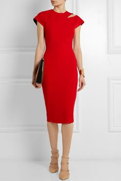 Victoria Beckham | Cutout silk and wool-blend crepe dress | NET-A-PORTER.COM