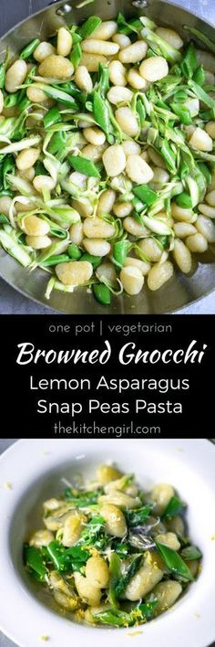 Gnocchi sauteed in browned butter with snap peas and shaved asparagus, topped with lemon zest, and shredded parmesan cheese. Vegetarian Gnocchi Recipes, Quick Pasta Recipes, Quick Vegetarian Meals, Vegetarian Soup, Supper Recipes, Easy Dinner Recipes, Easy Meals, Healthy Recipes, Healthy Eats