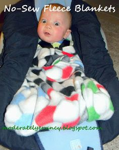 No Sew car seat blanket and tie blanket tutorial. Easy and cute Christmas or baby shower gift.