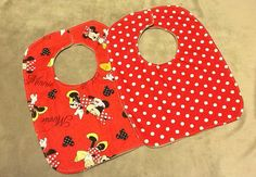 Minky Baby Toddler Bib, Minnie Mouse set. on Etsy, $16.00 CAD