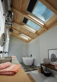 "Learn how a VELUX No Leak Solar Powered ""Fresh Air"" Skylight provides beautiful natural light, fresh air and moisture control that won't compromise privacy. Skylight Bathroom, Bathroom Lighting, Upstairs Bathrooms, Master Bathrooms, Bathroom Inspiration, Bathroom Ideas, Bathroom Designs, Shower Ideas, Amazing Bathrooms"
