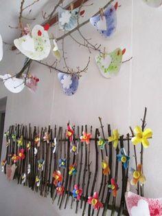 Afbeeldingsresultaat voor jarní výzdoba ve škole Spring Art, Spring Crafts, Diy And Crafts, Crafts For Kids, Arts And Crafts, Spring Decoration, Preschool Art, Nature Crafts, Art Activities