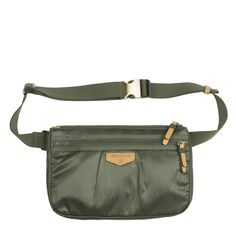 TWELVElittle Fanny Pack in Olive: Water-resistant coated exterior and interior fabric with adjustable waist belt. Brushed hardware accent buckle cap and many pockets inside and outside.  Can be worn across the body. [green on-the-go travel gym workout jogging exercise nursing durable fashionable mommy diaper bag accessories]