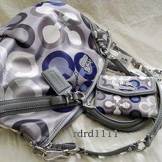 Coach Madison op art clover Large blue & grey handbag