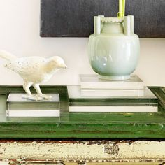 Wonder how these Glass Risers would look with my rock collection.  I love the idea of using risers of some type with them.
