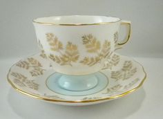 Colclough Teacup and Saucer, Blue, White and Gold Fern Leaves Teacup, Made in England, Gift For Her