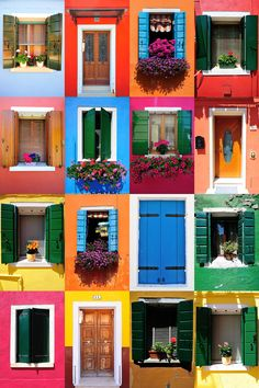 United Colors of Burano by Vesna Zivcic on - Murales Pared Exterior Colourful Buildings, Colorful Houses, Deco Boheme, Exterior House Colors, World Of Color, Windows And Doors, Paint Colors, Beautiful Places, House Design