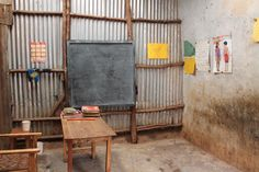 sadly this tiny room is what is considered a classroom for over 30 kids living in the slums in Kibera, Nairobi