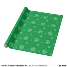 Snowflake Pattern Modern Winter Holiday Green Wrapping Paper  #giftwrap