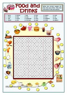 First students look for the twenty-four food and drinks in the wordsearch, then they match their names in the box to the pictures around the wordsearch. As an extra-task the lesson can be finished playing bingo on the blackboard to reinforce the pronunciation. Key provided. - ESL worksheets