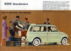 Cinquecento advertisement -- apparently touting it can handle four people and luggage!