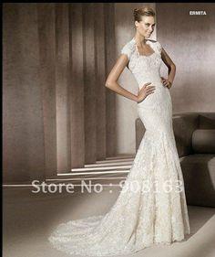 vintage lace wedding dresses | White Satin Lace Top Long Sleeve Wedding Dress 2012-in Wedding Dresses ...