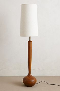 Interesting dimensions for a floor lamp: tall skinny lamp base paired with a tall skinny lampshade. Diy Floor Lamp, Floor Lamp Base, Unique Lighting, Home Lighting, Lamp Light, Light Up, Skinny Tables, All Of The Lights, Room Lamp