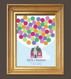 DIY Fingerprint or Signature Guest Book Printable: UP movie inspired House with Balloons. $24.00, via Etsy.