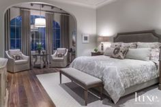 A Florentine-Style #openplan home's #transitional gray master #bedroom. | See MORE at www.luxesource.com. | #luxemag #interiordesign #design #interiors #homedecor