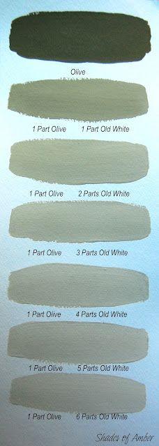 Chalk Paint® decorative paint by Annie Sloan ~ Olive with varying amounts of Old White