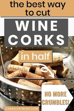 Having a hard time cutting wine corks in half for your crafts? Well, I found the best way to cut wine corks in half, and I'm sharing! Wine Corks For Sale, Recycled Wine Corks, Recycled Crafts, Wine Cork Projects, Wine Cork Crafts, Wine Bottle Crafts, Wine Bottles, Diy Projects, Fun Arts And Crafts