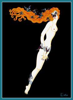 Art Deco Number 7 by Romain de Tirtoff aka Erté Estilo Art Deco, Arte Art Deco, Moda Art Deco, Art Deco Artists, Art Deco Illustration, Art Nouveau, Alphonse Mucha, Erte Art, Romain De Tirtoff
