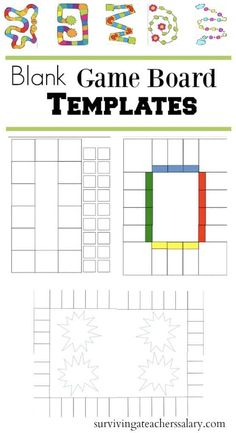 FREE printable blank game board templates that create awesome math activities based on children's books! These free book report templates create a higher-level thinking activity for classrooms of any grade level. Inspired by Advancemen Free Board Games, Free Math Games, Math Board Games, Printable Board Games, Math Boards, Board Games For Kids, Math Activities, Kids Board, Blank Game Board