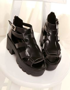 2108d256b7c3 Gothic Black Motor sandals high platform chunky heel opentoe cut out Roman  shoes