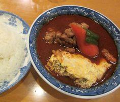 澄川6条4『木多郎』チキン野菜+オムレツ 辛さ3番だけど、結構汗が出る。トマトを使ったスープ、実に味がいいですねぇ!  Google+