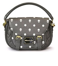 Loungefly Grey Skull With Dots Crossbody Bag