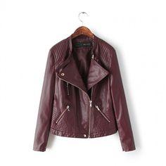 Claret quilted zipper biker leather jacket lapel