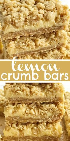 Lemon Crumb Bars Lemon Bars Lemon Recipes Lemon Dessert Lemon Bars With An Oatmeal And Brown Sugar Crumble Topping. Rich, Tart, Silky Smooth Lemon Cream With A Thick Layer Of A Sweet Oatmeal Crust And A Thick Sprinkle Of Crumble On Top. Lemon Dessert Recipes, Lemon Recipes, Köstliche Desserts, Pudding Desserts, Cookie Recipes, Delicious Desserts, Healthy Lemon Desserts, Drink Recipes, Oreo Dessert
