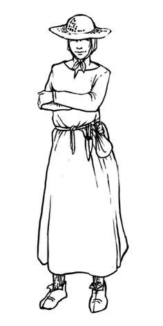 Einfache Bäuerin, Leibkleid (nicht sichtbar), Kopftuch, Cotte, einfacher Gürtel, Strohhut, Strümpfe, Besteck und ein einfacher Beutel am Gürtel Ladies Clothes, Historical Clothing, Flatware, Figurine, Gowns