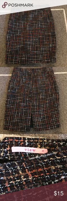 Sz 4 tweed pencil skirt.  Beautiful condition Sz 4 tweed pencil skirt.  Brown with orange, grey, camel view Skirts Pencil