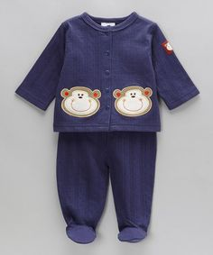 Take a look at this Navy Monkey Top & Footie Pants - Infant by kathy ireland on #zulily today!