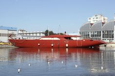 Hull C.2193 the second of Perini Navi's new series of 60m sailing superyachts arrives in Viareggio