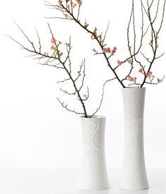 """Vintage: Vase """"Ghost"""" mit Spitzen-Applikation - Keramik: originelle Vasen - [LIVING AT HOME]"""