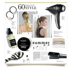 """""""Hair Trend - Ponytail"""" by kiki-bi ❤ liked on Polyvore featuring beauty, Rock & Ruddle, Andrea, Balmain, Conair, GHD, Tasha, Candie's, L. Erickson and hairtrend"""