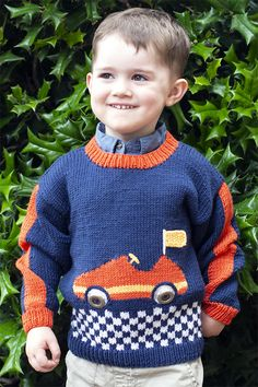 Free Knitting Pattern for Off To The Races Sweater - Pullover for children with intarsia race car and checkered flag border. Sizes Child's 2 Designed by Amy Bahrt. Baby Boy Knitting Patterns Free, Sweater Knitting Patterns, Knitting Designs, Knitting Sweaters, Knitting Projects, Sewing Projects, How To Start Knitting, Knitting For Kids, Free Knitting