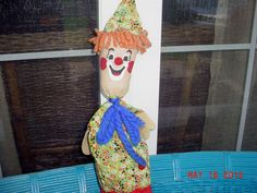Old Vintage Clown Puppet Cone Shape Holder w Stick to Control Moves Up Down | eBay
