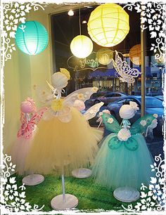 Tutu fairies, paper lanterns, Easter baskets for that season, all make a great window display for your dance studio