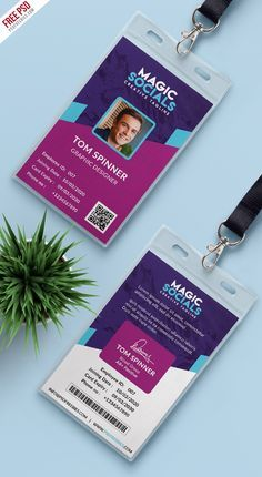 Free Office Identity Card Free PSD #freebies Name Tag Design, Id Card Design, Id Design, Badge Design, Create Business Cards, Cool Business Cards, Business Card Design, Buy Business, Identity Card Design