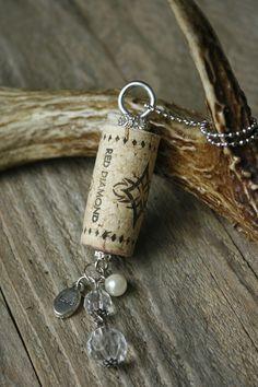 wine cork necklace w/ charms